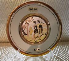 """The Art of Chokin 24Kt 6"""" Plate Gold Edged Ornament Of Samurai Warriors"""