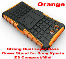 For Sony Xperia Z3 Compact Orange Heavy Duty Strong Tradesman Hard Case Cover