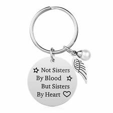 Not Sisters by Blood but Sisters by Heart Friendship Keychain