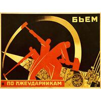 PROPAGANDA POLITICAL INDUSTRY TIME CLOCK WORK SOVIET ART PRINT POSTER 30X40 CM 1
