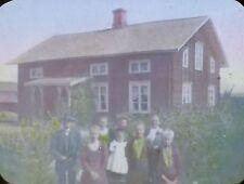 Family in Salleygarden (Sallergarden)?, Sweden, Magic Lantern Glass Slide
