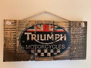 Wooden Wall sign Triumph Motorcycle Motorbike