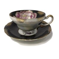 Vintage Royal Sealy Tea Cup & Saucer Hand Painted Black /Pink Footed Pearlescent