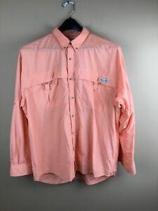 Columbia PFG men's large melon color nylon vented back fishing shirt UPF 30+