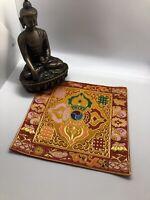 Tibetan Yellow Double dorje silk brocade table cover/altar cloth/shrine placemat