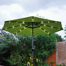 2.7M Round Garden solar LED Parasol Sun Shade Outdoor Patio Umbrella W/ Crank uk