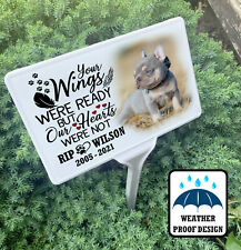 Grave marker, Dog memorial garden tree stake and personalised photo plaque.