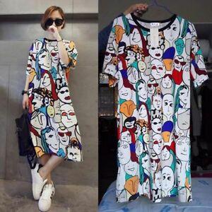 White Cartoon print Dress, Loose Fit, Pop Art, Harajuku, Kawaii, UK Seller, BNWT
