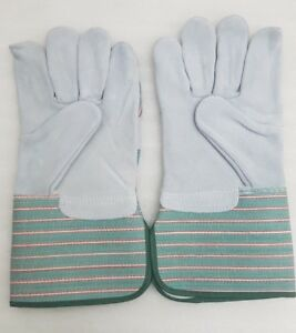"""double palm leather rigger work gloves heavy duty 4"""" cuff green / grey cat A+"""
