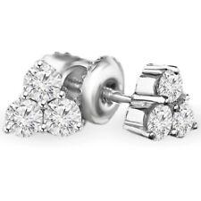 .22 CTW VS2 F 3-STONE ROUND DIAMOND STUD EARRINGS 14K WHITE GOLD