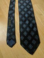 "Giorgio Armani Cravatte Tie Blue Diamond Geometric Italy Silk 3.75"""