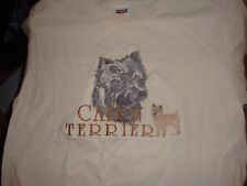Adorable Embroidered Cairn Terrier T-Shirt, Size Medium, Nice Condition!