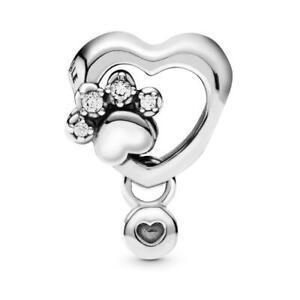 Genuine Pandora ALE 925 Silver Sparkling Paw Print & Heart Charm Mum 798873C01