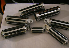 Chrome Ribbed Rail Foot Peg Set w/ Grips Harley Softail Dyna Sportster XL Custom