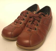 Charm Step Sz 5 Orange Brown Faux Leather Crepe Soles Lace Up Wedge Shoes Vtg