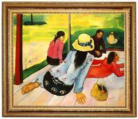 Ölbild, erotische Frau, Mittagsruhe, Paul Gauguin,Gemälde HANDGEMALT F:50x60cm