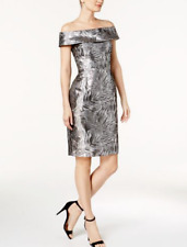Calvin Klein Petite Brocade Off-The-Shoulder Dress $159 Size 0P # DN 2252 N  /0P