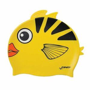 Kids YELLOW ANGEL FISH Learn to Swim Class Finis Silicone Latex Free Swim Cap