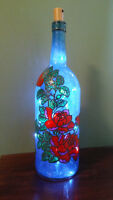 Red Roses Bottle Lamp Handpainted Lighted Stained Glass Look