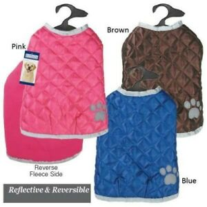 Casual Canine Quilted Nor'Easter DOG Puppy VEST JACKET COAT PINK  BLUE  BROWN