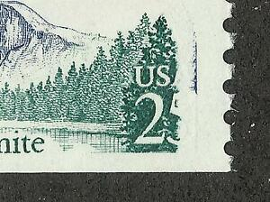 US # 2280 (1988) 25c, MNH, Yosemite, EFO: 5 cent of 25 cent gone & Red in Blue