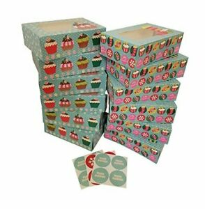 Christmas Cookie gift boxes; rectangular with clear window; Blue Cupcake