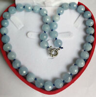 """10mm Natural Faceted Blue Aquamarine Round Gemstone Beads Necklace 18""""AAA"""