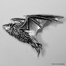 Flying Pipistrelle Bat Pewter Brooch Pin - British Artisan Signed Badge- Vampire