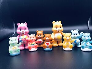 Vintage Mixed Lot of 9 TCFC Mini Care Bear Figures Movable Collectibles Vtg Toys