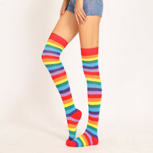 Womens Girls Stockings Over Knee Plus Size Striped High Socks Sheer Thigh