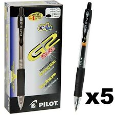 5x Black Pilot Pens G2 Retracting Clicker 0.38 or 0.5 mm Gel Japan Gift Father