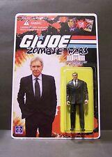 "Custom GI Joe figure and package of ""Zombie Wars"" MR PRESIDENT harrison ford"