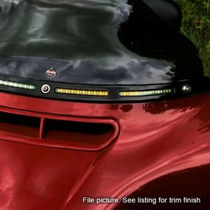 Custom Dynamics Black Sequential LED Batwing Windshield Trim Harley FLH/T 14-20
