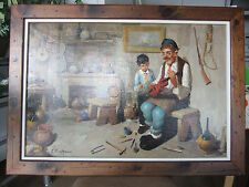 """C. CIAPPA SIGNED OIL PAINTING ON CANVAS-ITALIAN-INTERIOR SCENE-FRAMED 41"""" x 28"""""""