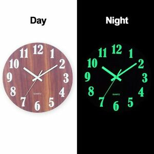 12 Inch Luminous Wall Clock Silent Wooden Design Night Light Home Room Decration