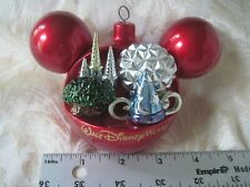 Disney Christmas Ornament Mickey Ears Ball Four Parks One World Holiday Ornament