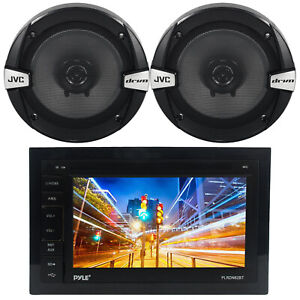 """Pyle PLRDN62BT Double DIN Bluetooth Receiver, 2x JVC 6.5"""" 2-Way Coaxial Speakers"""