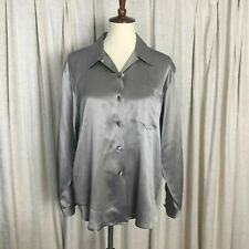 Anne Fontaine Petites 100% Silk Liquid Satin Gray Blouse Fabric Covered Buttons