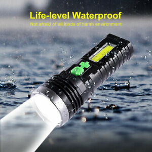 Outdoor USB/Solar Charging Flashlight Built-in Battery Torch with COB Side Light