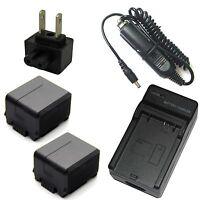Charger + 2x Battery for Panasonic AG-AC7 AG-AC120 AG-AC130 AG-AC160 AG-AF100