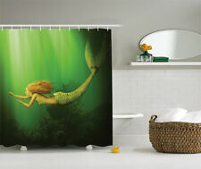 Mermaid with Fish Tail Swimming in Sea Fantasy Artwork Extra Long Shower Curtain