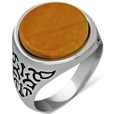 Solid 925 Sterling Silver Flat Round  Tiger's Eye Stone Men's Ring