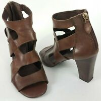 Franco Sarto Women's Caged Stacked Heel Sandals Size 8.5m Shoes Leather Brown