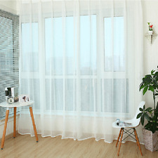 1 pc Sheer Curtain Voile Window Curtains Wear Rod White Color