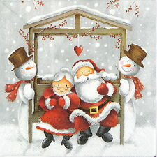 4x Paper Napkins for Decoupage Decopatch Mr and Mrs Claus