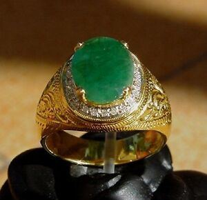 Men's 18K Solid Gold Natural Emerald & Diamonds  Ring