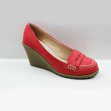 WOMENS CASUAL HIGH WEDGE HEEL SLIP ON MOCCASINS LOAFERS LADIES SHOES SIZE 3-8