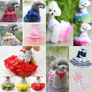 Dog Cat Cute Bow Tutu Dress Lace Skirt Pet Puppy Princess Costume Dress Clothes