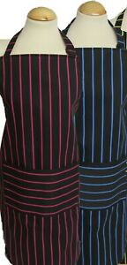 Large cotton bright butchers stripe apron with Pocket - blue, pink or green