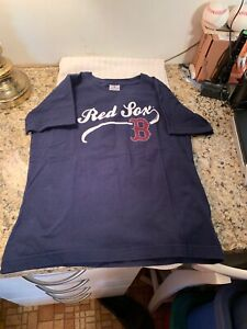 """Boston Red Sox Women's T-Shirt Shiny Bling """"B"""" Size M Blue W/ White & Red Accent"""